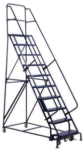 Steel Rolling Warehouse Ladder GSW Series- NO HANDRAILS