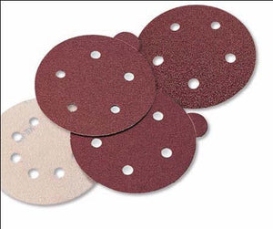 "Aluminum Oxide Red Heavy Weight Discs - PSA  5"" X 5 Dust Holes Single Discs With Tabs"
