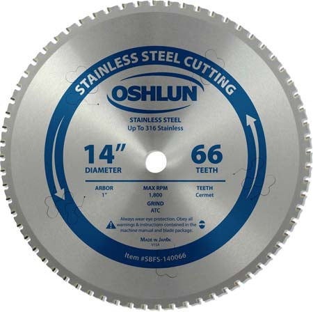 14'' 66 tooth, 1'' arbor Stainless Steel Cutting Saw Blade.