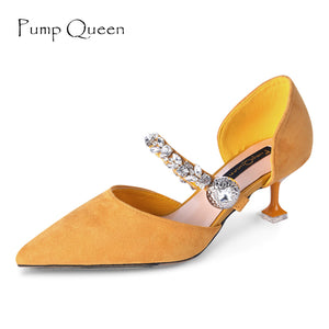 Mary Jane Women Pumps Fashion Shoes for Woman Elegant Pointed Party Heels Med Heel Designer Crystal Ladies Dresses Shoes Yellow
