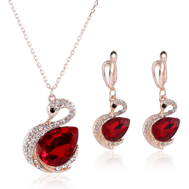 Fashion Animal Swan Red Jewelry Sets
