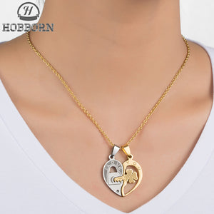 HOBBORN Romantic Couple Pendants & Necklaces