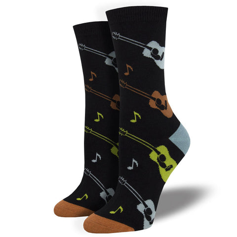 Women's Listen To The Music Guitar Socks (Silky Soft Range)