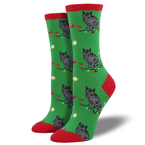 Women's Christmas Cat-Astrophe Socks