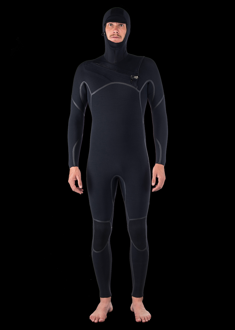 Mens 6/4 Liquid Fast Dry Hooded Chest Zip Wetsuit