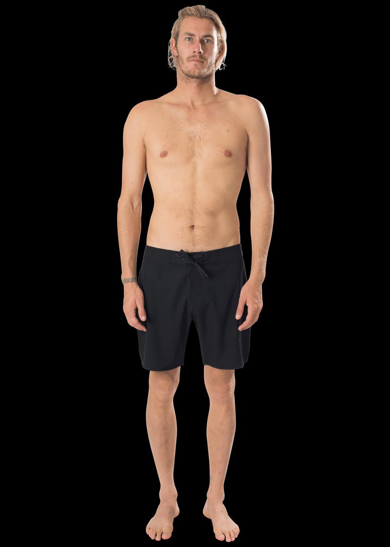 "17"" Black Scallop Leg Premium Board Shorts"