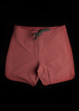 "17"" Burgundy Scallop Leg Premium Board Shorts"