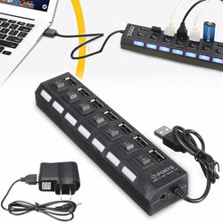 High Power USB Hub 7 Ports Universal High Speed ON/OFF Switch Adapter Cable LED Hub USB Splitter