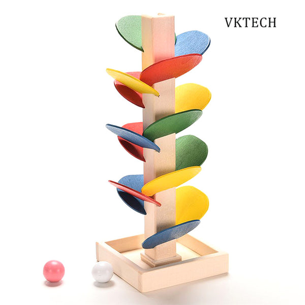 Wooden Toys for Children Colorful Tree Marble Ball Run Track Baby Kids Game Wood Toy Brinquedos