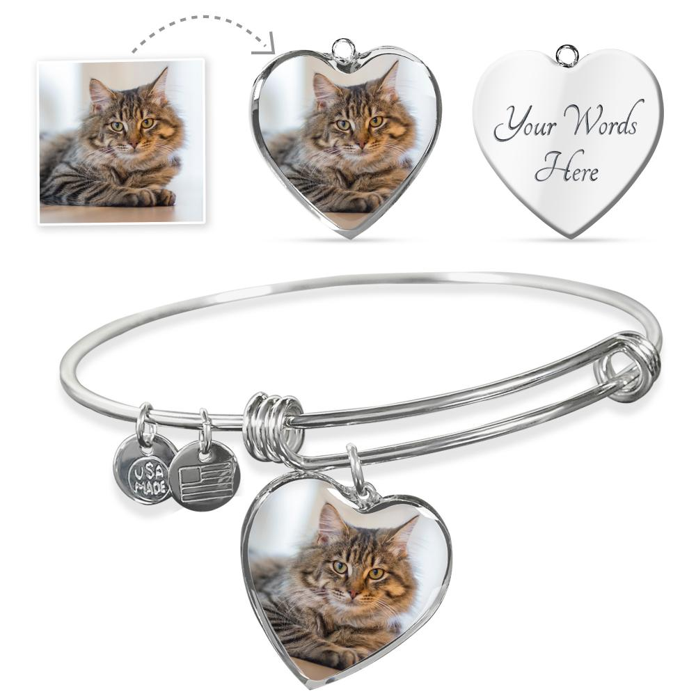Personalized Heart - Adjustable Bangle (w/ Necklace variant)