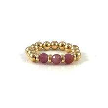 Handmade Rose Gold Bead Stretch Gemstone Rings