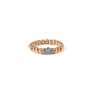 Handmade Rose Gold Bead Gemstone Stretch Rings