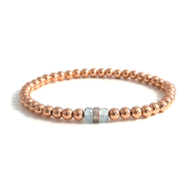 Melissa 14k Rose Gold Diamond & Aquamarine Bracelet