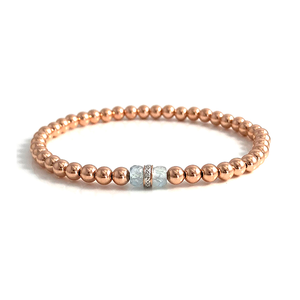 Melissa Pisces Birthstone Aquamarine Diamond Rose Gold Bracelet