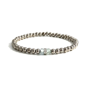 Pisces Birthstone Aquamarine Diamond 14k White Gold Stretch Bracelet