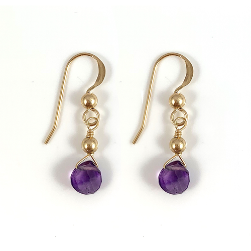 Ashley Handmade Delicate Gold Amethyst Gemstone Earrings Aquarius Birthstone