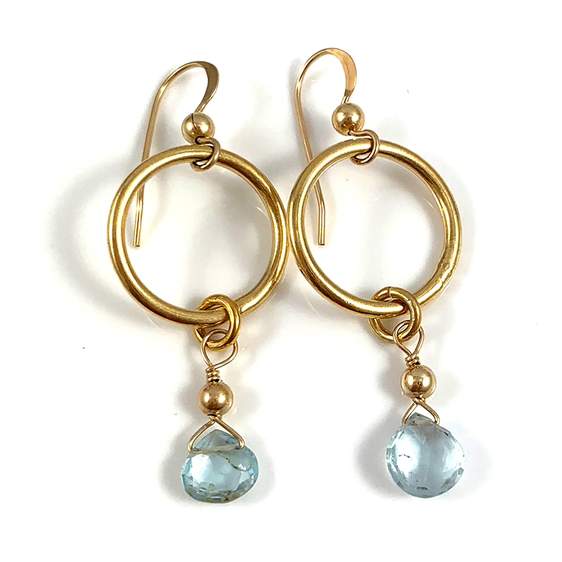 Melissa Pisces Birthstone Handmade Delicate Gold Circle Aquamarine Gemstone Earrings