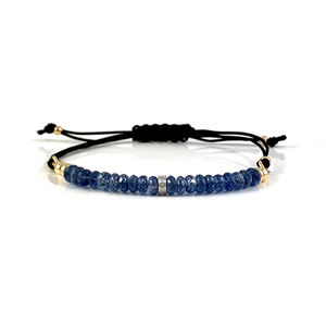 Emily Sapphire Gemstone Adjustable Black Cord Bar Bracelet Virgo Birthstone