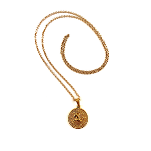 Capricorn Gold Zodiac Medallion Necklace 28""