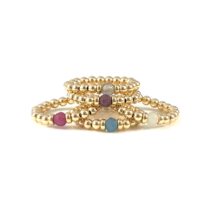 Handmade Gold Bead Gemstone Stretch Rings