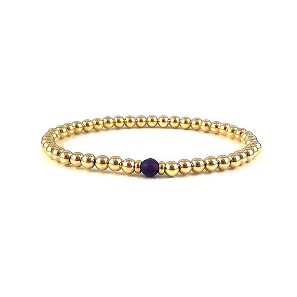 Ashley Amethyst Gold Bead Stretch Bracelets Aquarius Birthstone