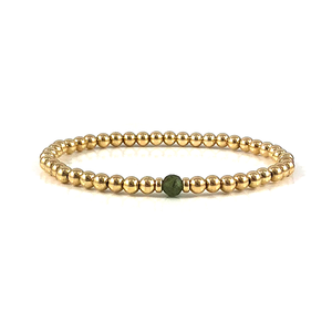 Emily Green Apatite Gold Bead Stretch Bracelets