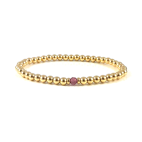 Libra Birthstone Pink Tourmaline Gold Bead Stretch Bracelets