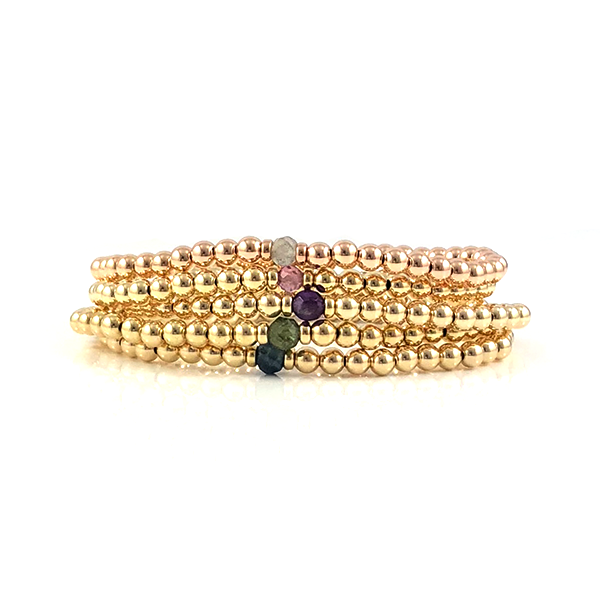 The Emily Collection of Gemstone and Gold Bead Stretch Bracelets