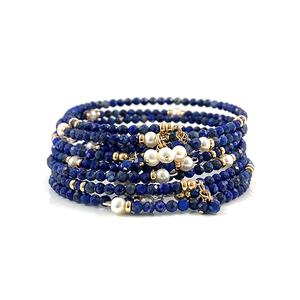 Lapis Pearl Bangle Bracelet