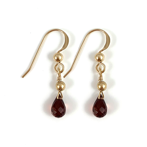 Jessica Capricorn Birthstone Handmade Delicate Gold Garnet Gemstone Earrings