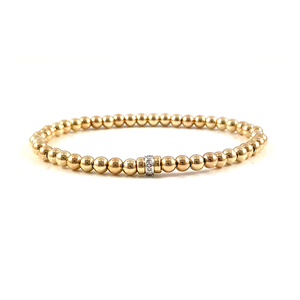 Aries Birthstone Diamond Yellow Gold Stretch Bracelets