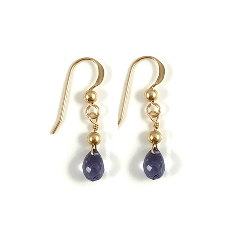 Emily Virgo Birthstone Handmade Delicate Gold Iolite Gemstone Earrings