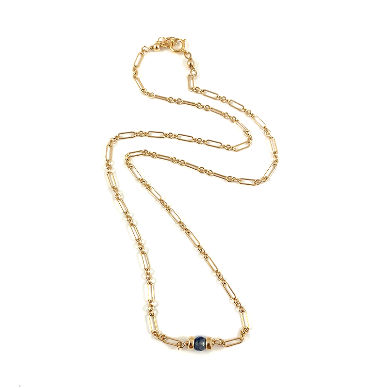 Handmade Blue Gemstone Delicate Gold Necklace 15