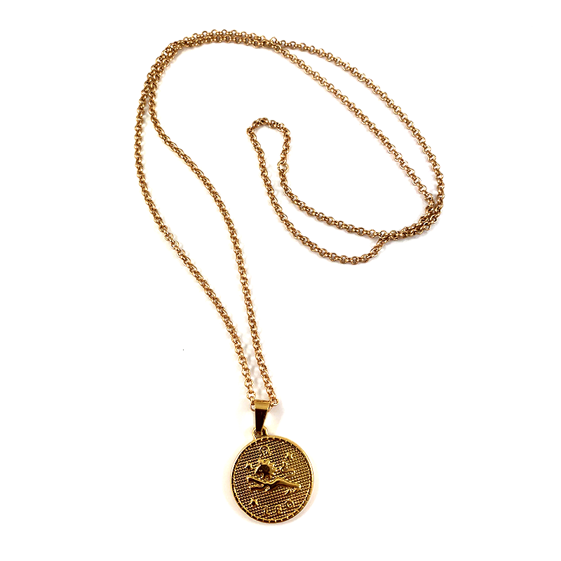 Leo Gold Zodiac Medallion Necklace 28