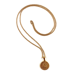 Libra Gold Zodiac Medallion Necklace 28""