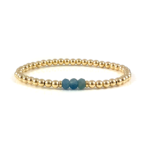 Lauren Aquamarine Gold Bead Stretch Bracelet