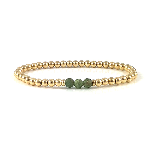 Green Apatite Gold Bead Stretch Bracelet