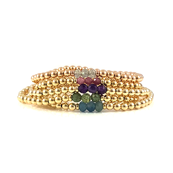The Lauren Collection of Gemstone and Gold Bead Stretch Bracelets