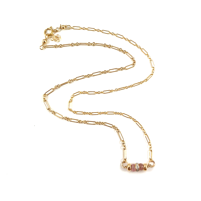 Amber Pink Tourmaline Diamond Necklace