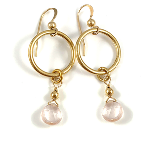 Taurus Birthstone Handmade Delicate Gold Circle Rose Quartz Gemstone Earrings