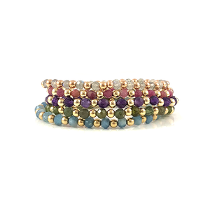 Rose Gold Labradorite Stretch Bead Bracelet