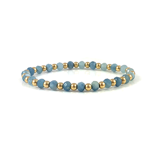 Aquamarine Gold Stretch Bead Bracelet