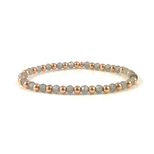 Rose Gold Bead Stretch Bracelet Handmade Labradorite