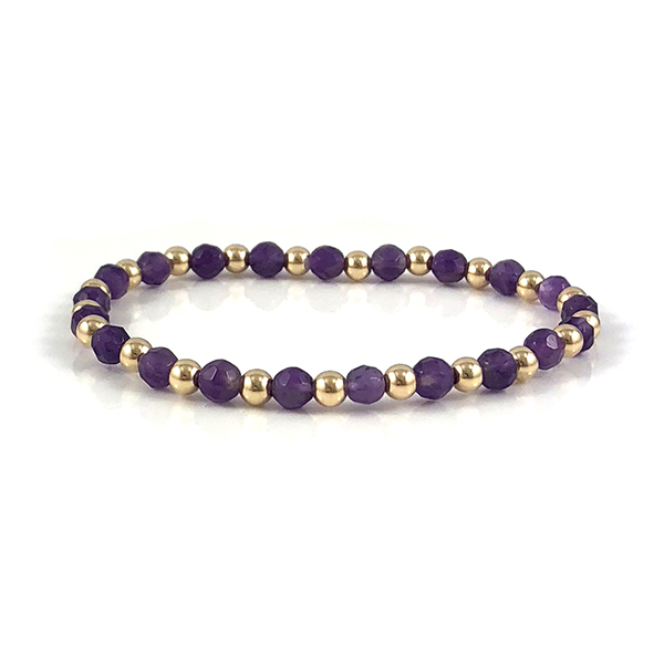 Ashley Amethyst Gold Stretch Bead Bracelet Aquarius Birthstone
