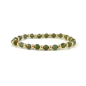 Green Apatite Gold Stretch Bead Bracelet