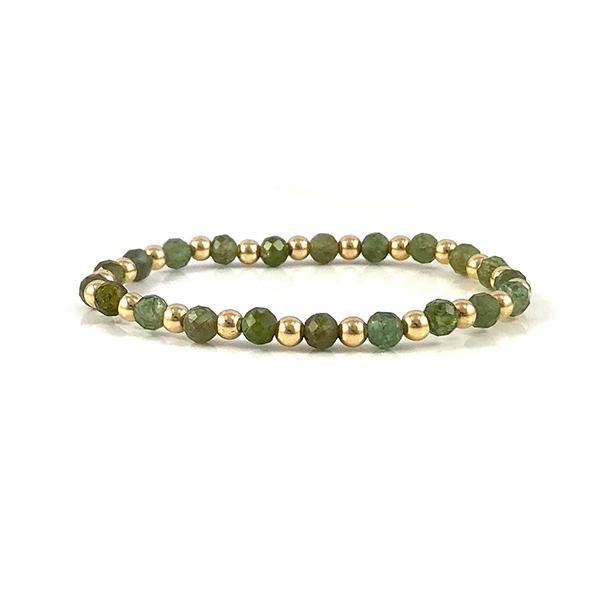 Sarah Green Apatite Gold Stretch Bead Bracelet