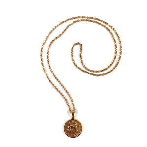 Taurus Gold Zodiac Medalllion Necklace 28""