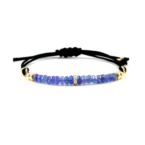 Sagittarius Birthstone Handmade Tanzanite Diamond Adjustable Black Cord Bar Bracelet