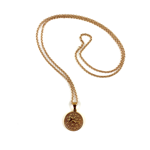 Virgo Gold Zodiac Medallion Necklace 28