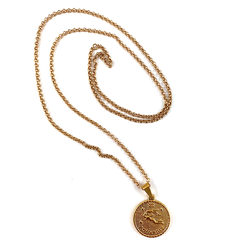 Aquarius Gold Zodiac Medallion Necklace 28